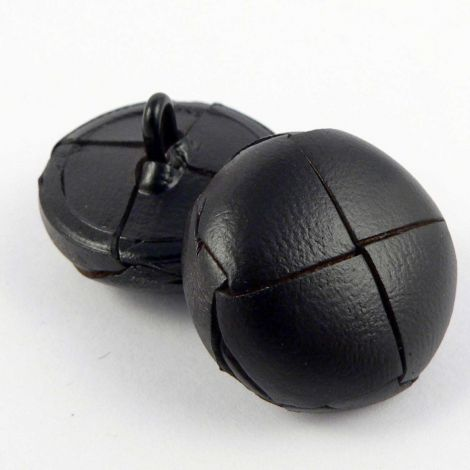 15mm Dark Chocolate Brown Classic Leather Shank Button