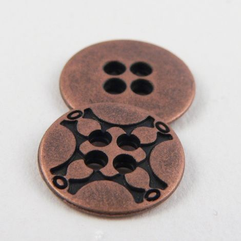 13mm Round Metal 4 Hole Copper Button