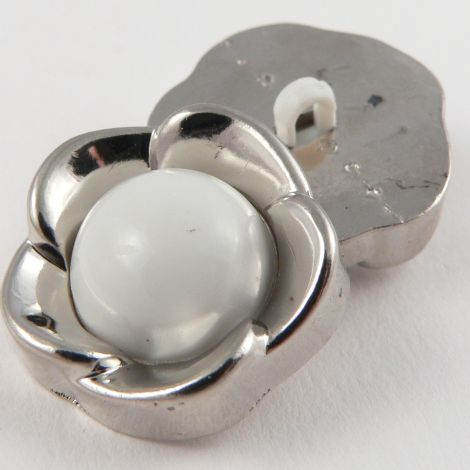 25mm Silver Flower Metal Effect Shank Coat Button