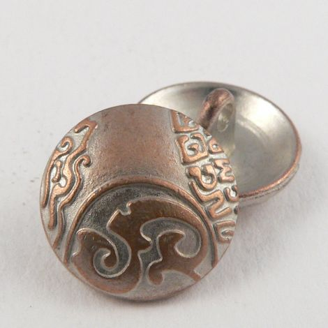 15mm Pale Copper Ornate Metal Shank Button