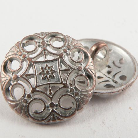 15mm Ornate Pale Copper Metal Shank Button