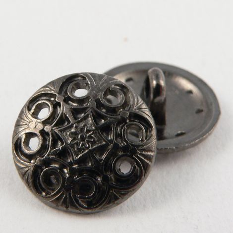 15mm Ornate Pewter Metal Shank Button
