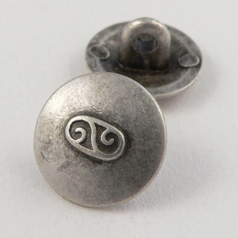 15mm Contemporary Silver Metal Shank Button
