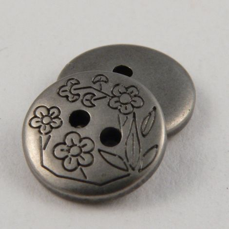 13mm Round Pewter Metal 2 Hole Button