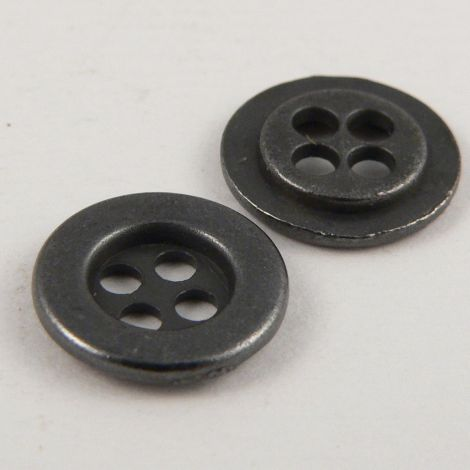 11mm Round Pewter Metal 4 Hole Shirt Style Button