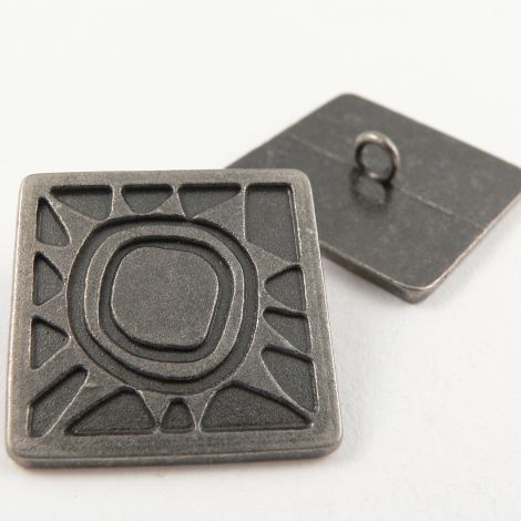 24mm Abstract Pewter Square Metal Shank Button