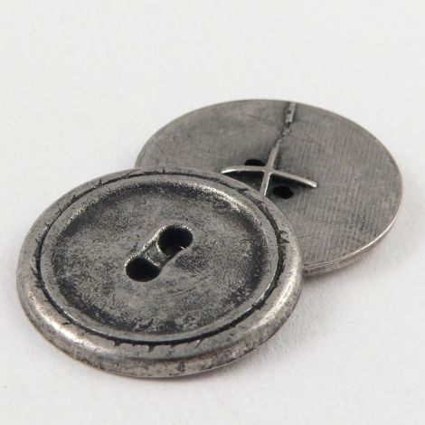22mm Silver/Pewter  Metal 2 Hole Button