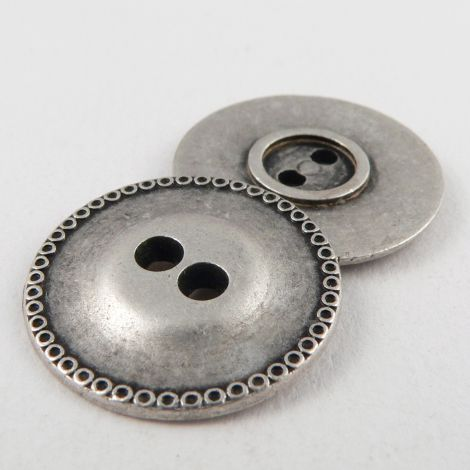 22mm Silver/Pewter 2 Hole Metal Button
