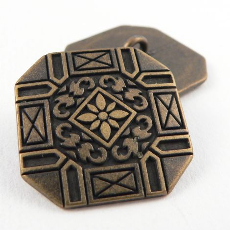15mm Brass Ornate Square Metal Shank Button
