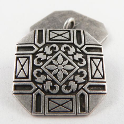 24mm Silver/Pewter Ornate Square Metal Shank Button