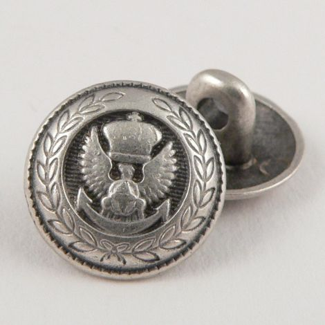 15mm Silver Coat of Arms Metal Shank Button
