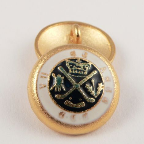 20mm Gold/Enamel Coat of Arms Metal Shank Button