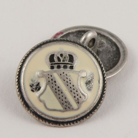 20mm Silver/Enamel Coat of Arms Metal Shank Button