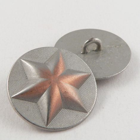 23mm Silver Domed Star Metal Shank Button