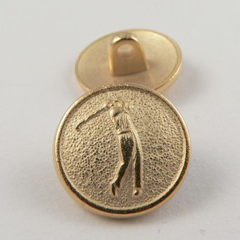 15mm Gold Metal Shank 'Golfer' Button