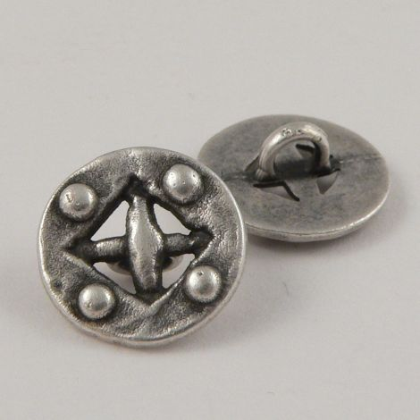 18mm Old Silver Style Metal Shank Button