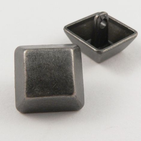 17mm Pewter Square Contemporary Shank Metal Button