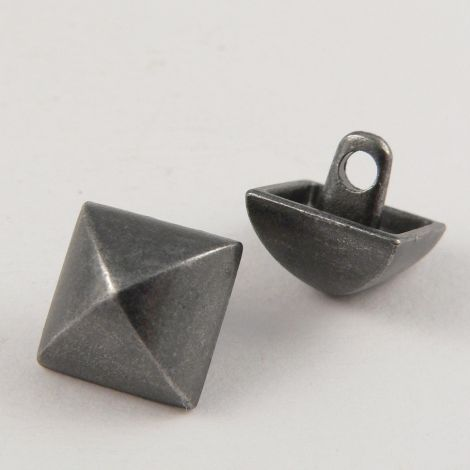 11mm Pewter Square Contemporary Shank Metal Button