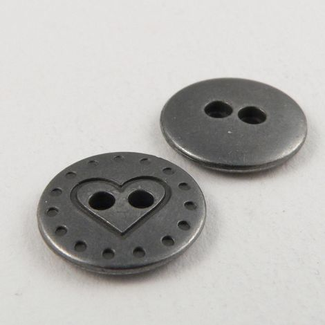 14mm Round Heart Pewter Metal 2 Hole Button