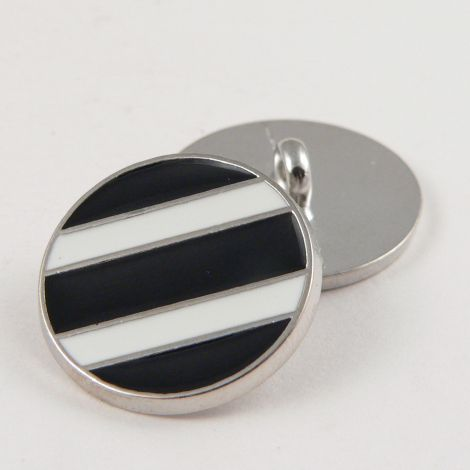 20mm Designer Enamel Striped Metal Shank Button