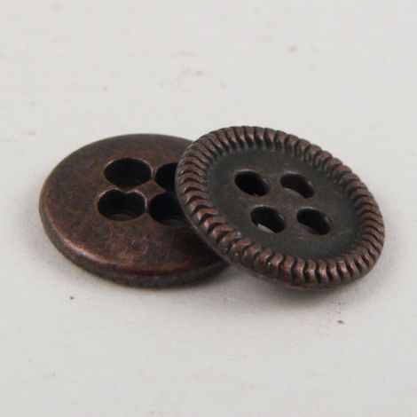 10mm Copper Metal 4 Hole Shirt Button