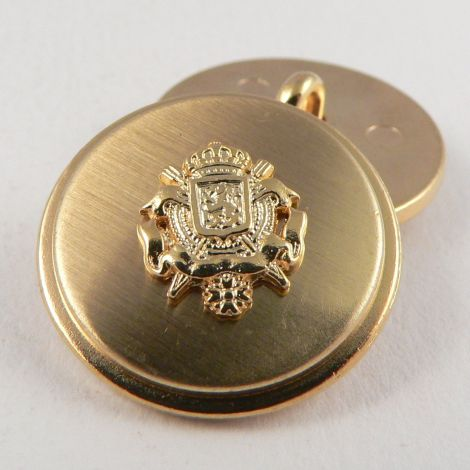 15mm Gold Coat of Arms Metal Shank Suit Button