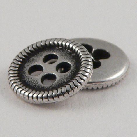 10mm Silver Metal 4 Hole Shirt Button