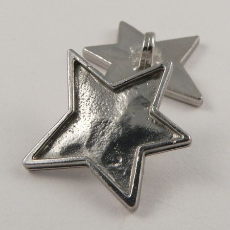 23mm Silver Contemporary Star Metal Shank Button