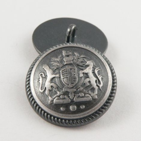 23mm Pewter/Silver Coat of Arms Metal Shank Suit Button