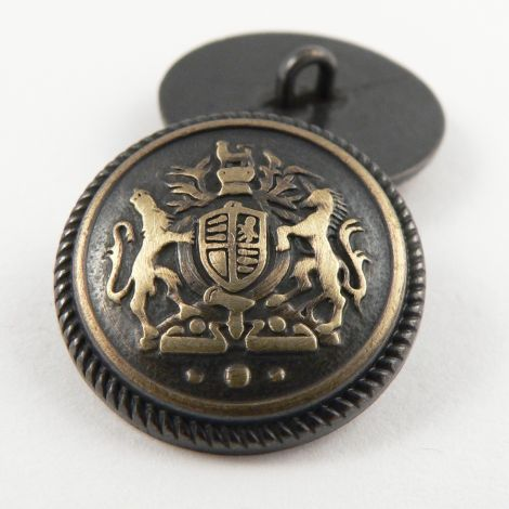 15mm Pewter/Gold Coat of Arms Metal Shank Suit Button