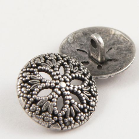 19mm Brushed Silver Floral Metal Shank Button