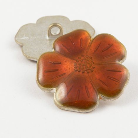 26mm Italian Orange Enamel Flower Metal Shank Button