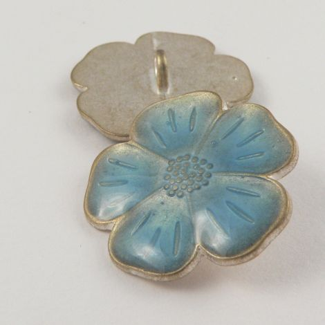 15mm Italian Blue Enamel Flower Metal Shank Button