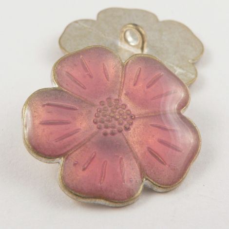 15mm Italian Pink Enamel Flower Metal Shank Button
