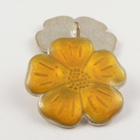 15mm Italian Yellow Enamel Flower Metal Shank Button
