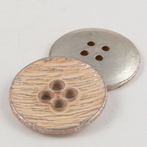 15mm Italian Apricot Enamel Metal 4 Hole Suit Button
