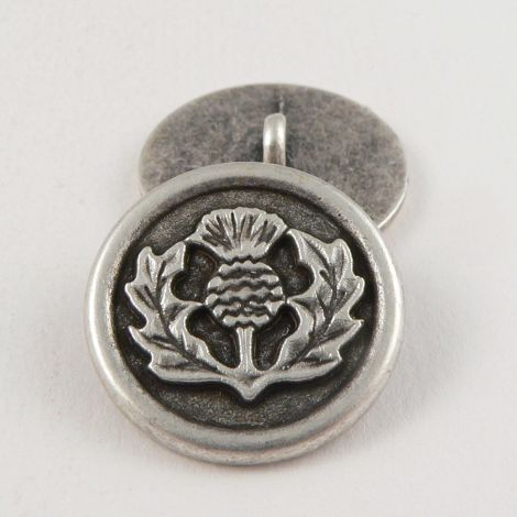 23mm Silver St Andrew's Thistle Metal Shank Button