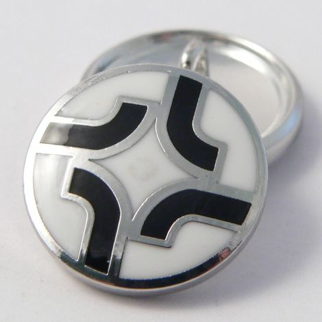 20mm White & Black Metal & Enamel Shank Suit Buttons
