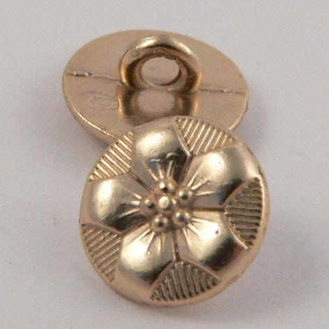 10mm Gold Metal Floral  Shank Button