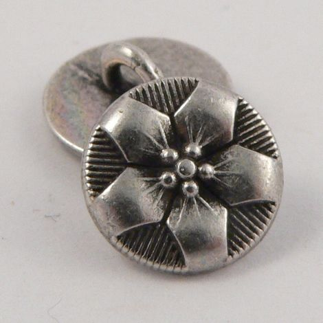 10mm Pewter Metal Floral  Shank Button