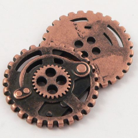 15mm Copper Metal Steam-Punk Style 4 Hole Button