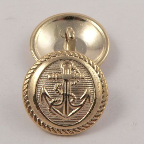 15mm Gold Anchor Metal Shank Suit Button