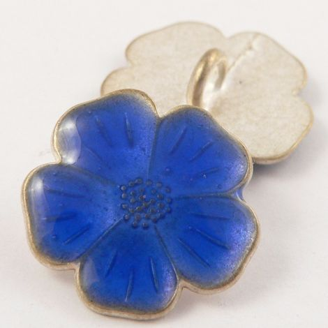 15mm Italian Royal Blue Enamel Flower Metal Shank Button