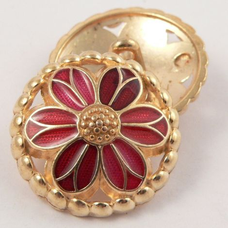 15mm Metal Gold and Red Flower Shank Button