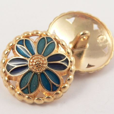 20mm Metal Gold and Blue Flower Shank Button
