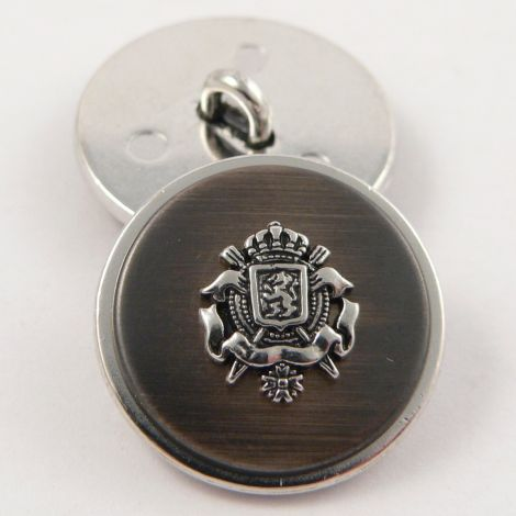 15mm Silver & Copper Coat of Arms Metal Shank Suit Button