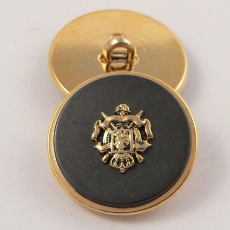 20mm Gold & Charcoal Coat of Arms Metal Shank Suit Button