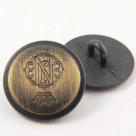 15mm Gold & Brass Coat of Arms Metal Shank Suit Button