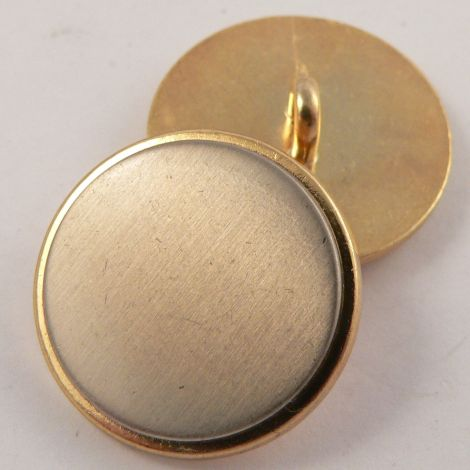 20mm Gold & Brushed Silver Metal Shank Button