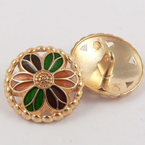 15mm Metal Gold and Orange & Green Flower Shank Button